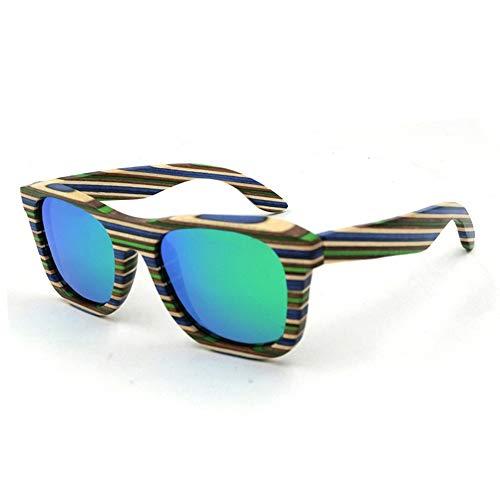 Hexiaoyi Männer/Frauen-Holz-Sonnenbrille, Klassische Angeln Driving Polarisations-Brille (Color : Green)
