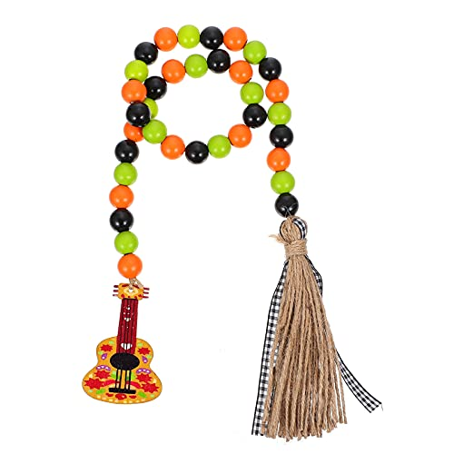 VALICLUD Wood Bead Garland with Tassels Mexican Fiesta Wooden Bead Ornament Wall Hanging Decor for Cinco de Mayo Carnivals Festivals Supplies