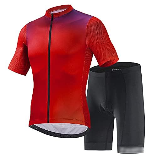 JQKA Conjunto Ropa Equipacion Traje Ciclismo Hombre para Verano, Maillot Ciclismo Hombre+Culotte Ciclismo Culote Bicicleta(Size:XX-Grande,Color:Rojo)