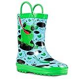 ZOOGS Children's Rubber Rain Boots, Little Kids & Toddler, Boys & Girls Patterns, Blue (Frog), 5 Toddler