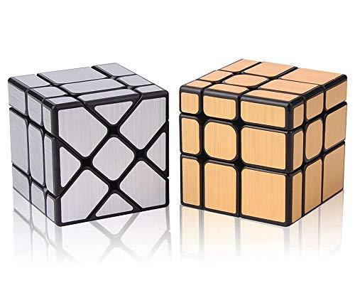 ROXENDA Magic Cube Set, [2 Paquete] Cubo de Espejo - Espejo Dorado S y Espejo de Plata - Irregular Cubo Mágico 3x3x3, Speed Cube Twisty Box Rompecabezas