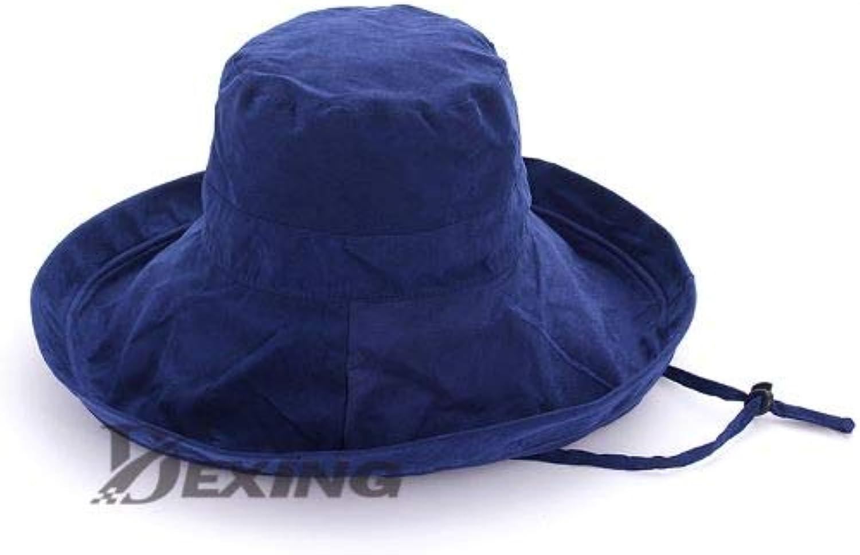 MZHPLD Anti-uv Breiter Krempe Baumwolle Leinen Sommer Hut Für Frauen Urlaub Faltbare Strand Hut Eimer Hut Groe Krempe Korean Sun Hut