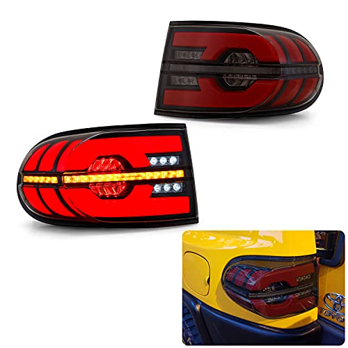トヨタ FJ クルーザー テールランプ リアライト流れるウィンカー シーケンシャルウィカー オープニングモーション 左右2点セット07年以後 FOR TOYOTA FJ CRUISER LED TAIL LIGHTS LAMPS 2007-UP (スモーク)