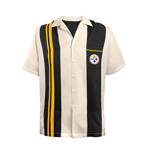 NFL Pittsburgh Steelers Unisex NFL Bowling Shirt Spare, x Large, black