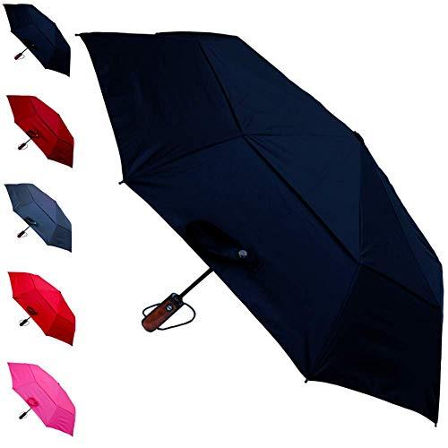 COLLAR AND CUFFS LONDON - Fuerte 80 km/h - A Prueba de Viento - Compacto - Estructura Reforzada con Fibra de Vidrio - Doble Toldo Ventilado - Apertura y Cierre Automático - Paraguas Plegable - Negro
