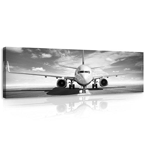 Welt-der-TräumeWANDBILD CANVASBILD Wandbild Leinwandbild Kunstdruck Canvas | Flugzeug | O3 (45cm. x 145cm.) | Canvas Picture Print PP11386O3-MS | Flugzeug Flughafen Himmel Transportmittel Wolken