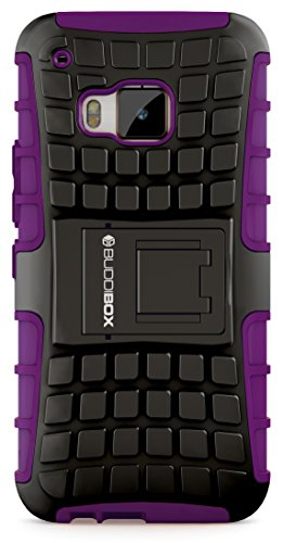 HTC One M9 Case, BUDDIBOX [Wave] Slim Rugged Durable Protective Case with Kickstand for HTC One M9, (Purple)