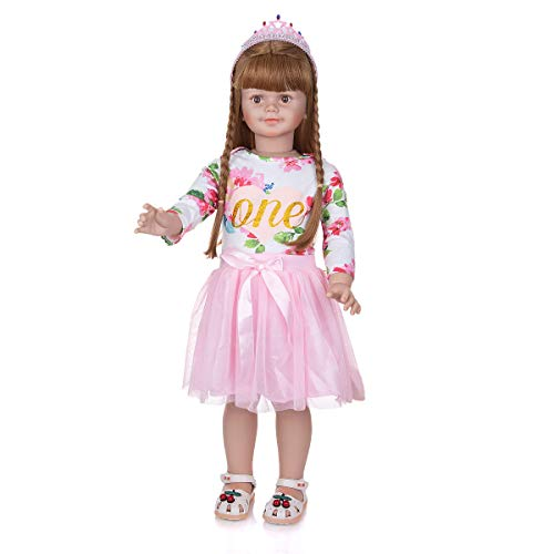 TOY 34Inch Toddler Reborn Dolls, Standing Baby, Full Body Hard Vinyl Handmade Reborn Toddler, Real Realistic Waterproof Vinyl for Kids Xmas Gifts