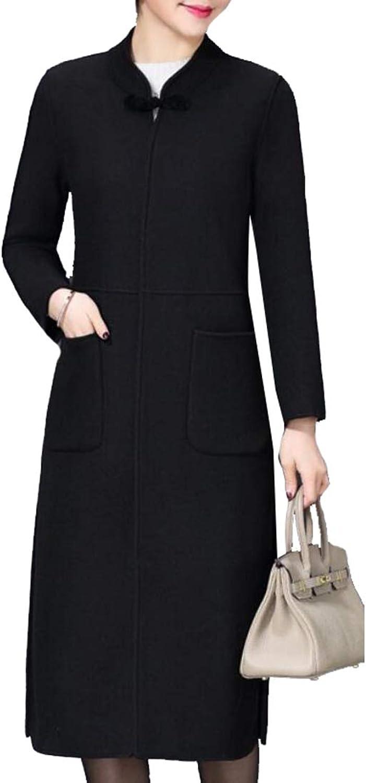 Esast Winter Women Long Coat Lapel Parka Jacket Cardigan Overcoat Outwear