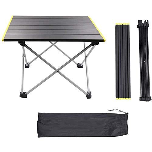 Table Pliante Extérieur Alliage D'aluminium Portable Poids Léger Mini Pliage Table De Camping Pique-Nique Camp Plage Pêche Barbecue Jaune 56x40x40cm(22x16x16inch)