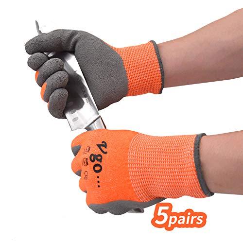 Vgo 5 Paare Schnittfeste Arbeits- und Gartenhandschuhe mit Latexschichtpalmen, EN388 von Niveau C, Handschutz für Schneiden(10/XL, Orange, RB2148HY)