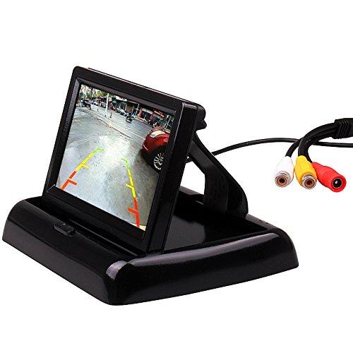 4,3 pouces petit mini écran de moniteur pliable numérique rabattable pour voiture camion véhicule vue arrière Kits de stationnement inverse maison CCTV