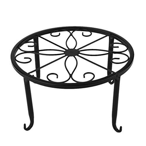 Warooma Blumenständer, Metall, rund, Schmiedeeisen, dekorativer Blumenständer, 23 cm, Schwarz/Bronze, Metalleisen, Schwarz , 1pack