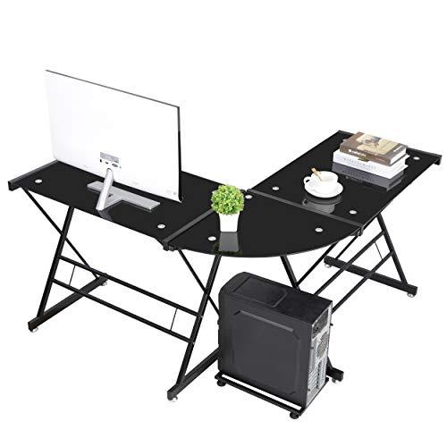 SUPER DEAL Modern L-Shaped Corner Desk - Black Glass Desktop Computer Gaming Table Office Writing Workstation with CPU Stand