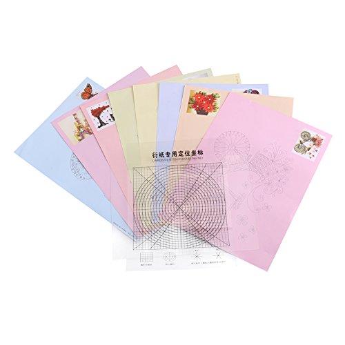 8pcs 16 Patrón de Papel de DiY, Quilling Line Paper, Dibujos, DIY Craft Papers, Colección de Tarjetas de Fotos para Decoración, Juguetes Educativos, Regalo de Navidad de Diversión