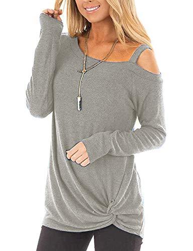 Beluring Sexy Oberteil Damen Langarmshirt Schulterfrei Bluse Tunika Asymetrisch Shirt Longshirt Winter Hellgrau XL