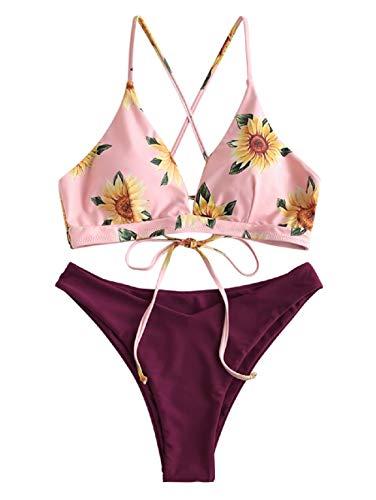 ZAFUL High Cut Bikini Set, gepolsterter Bademode mit Querstreben Knotted Rückseit/Sonnenblume Druckmuster für Damen (Rötlichbraun, L (EU 40))