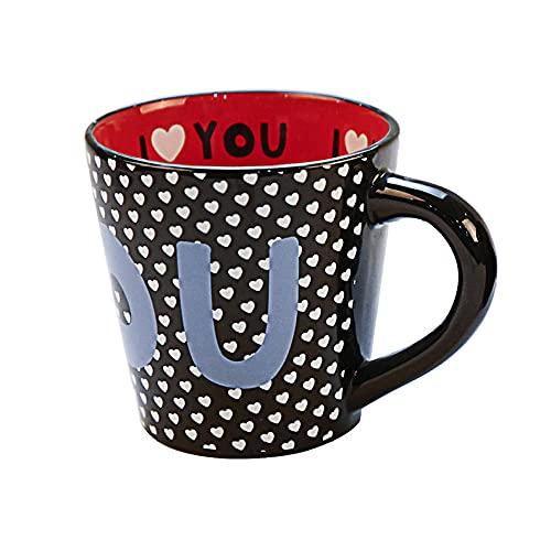 XXJJZON Taza de café de cerámica Resistente y Duradera, Taza de Cono de Lunares con Forma Personalizada, Taza de Agua de cerámica para Dar a los Clientes un Regalo para el Uso diario-301-400ml