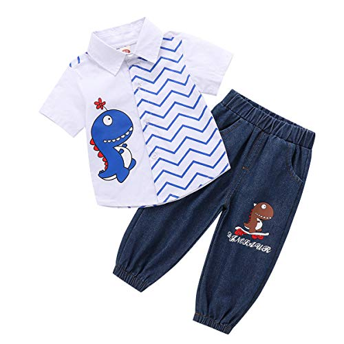 baskopa 2-3T Boy Clothes Short Sleeve T-Shirt and Denim Pants for Toddler Boys Kids Summer Outfits