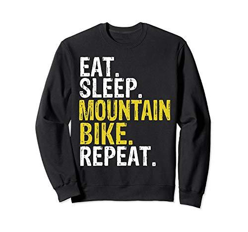 lilacoo Eat Sleep Mountain Bike Repeat Gift Sweatshirt for Men and Women