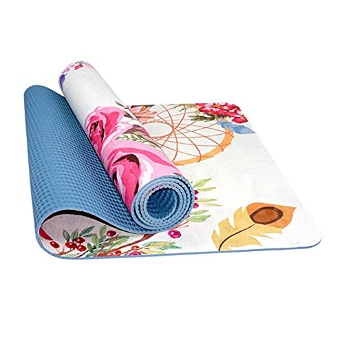 Toalla de Yoga 5 mm Gamuza Plegable Absorbente de Sudor Goma Natural Antideslizante Estera de Yoga Estera de Ejercicio Estera de Fitness Resistencia al Desgarro Adecuada Para Pilates Agarre Fuerte