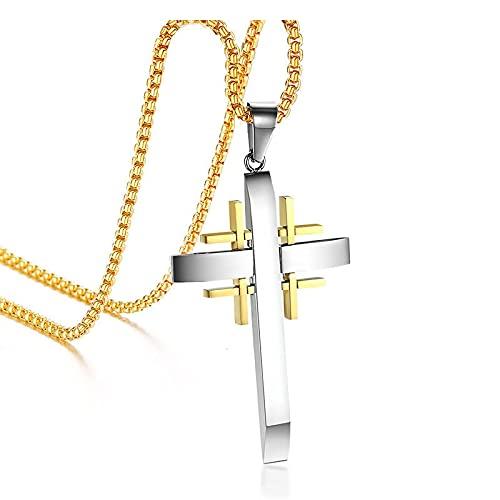 Collar con colgante de cruz para hombre, cadena de joyería cristiana, collar de cruz de Jerusalén de acero inoxidable, longitud 60Cm