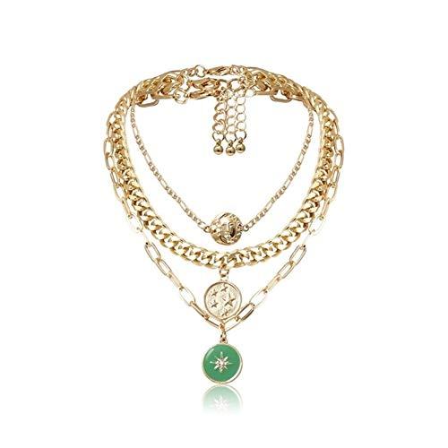 Vintage Collares Cadena Retrato de joyería gótica Conjunto Collar de la Mujer Colgante de Estrellas como el Sol (Metal Color : Green Sun Star)