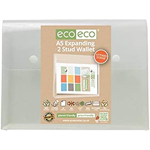 5 x eco-eco A5 95% Clear Recycled Expanding 2 Stud Wallet Envelope Folders