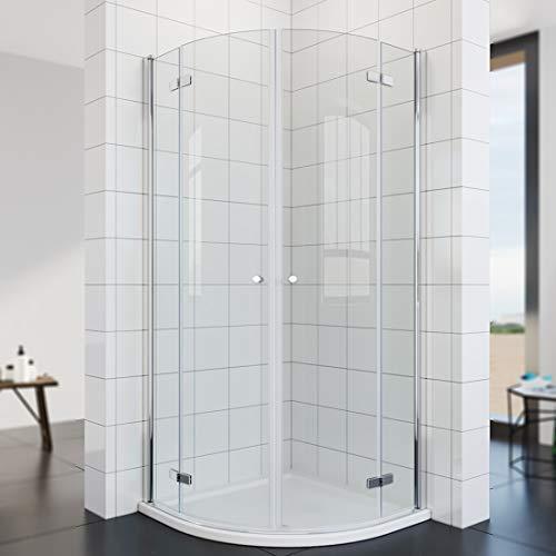 Duschkabine Runddusche mit Duschtasse + Ablaufgarnitur, 6mm ESG Glas Schiebetür Duschabtrennung Viertelkreis Duschkabine 90x90 cm