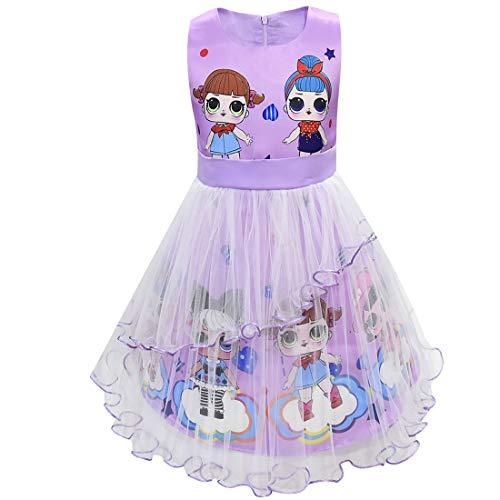 LOL Puppen Mädchen Kleid Sommer Rundhals Ärmellos Big Dot Cartoon 3-8Years (Lila, 140 (7-8 Jahre))
