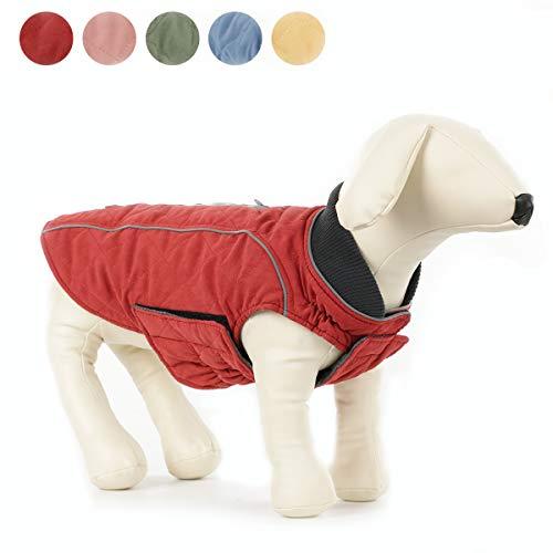 ubest Hundemantel wasserdichte Winterjacke, Warm Weste Reflektierende Hundejacke für Winter und kaltes Wetter, Rot, S
