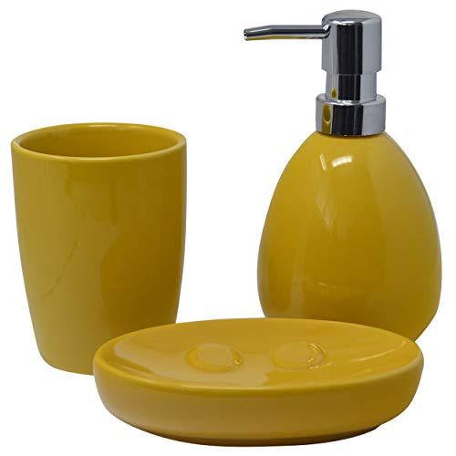 Juego/Set de Baño 3 Piezas en Cerámica, Color Amarillo, Diseño Moderno/Elegante. Vaso, Dispensador y Bandeja de baño -Hogarymas