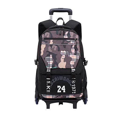 Waterproof Wheeled Rolling Backpack for Girls and Boys School Laptop Books Bag Rolling Backpack 6 Wheels Trolley Bag GWBI-coffee