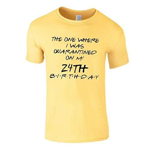 T-Shirt Uomo Social Distancing Personalizzato Compleanno Quarantina Pandemic Virus Lockdown 2020 Giallo M