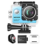 Neewer G1 Ultra HD Action Camera 4K 12MP, 98 ft Underwater Waterproof Camera 170 Degree Wide Angle WiFi Sports Cam High-tech Sensor and 2-inch Screen with Battery and Mounting Accessories Kit (Blue)