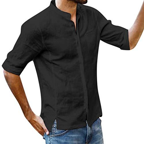 Celucke Herren Leinenhemd Henley Freizeithemd Leinen Shirt Kurzarm, T Shirts Männer Regular Fit Sommer Strand Urlaub Leichte Bequeme Atmungsaktives