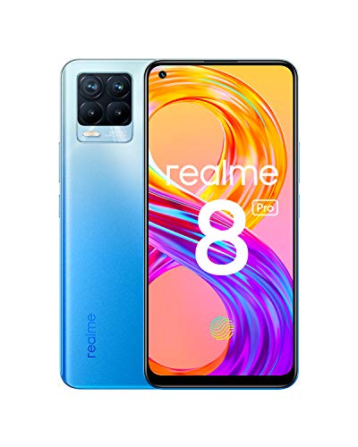 "realme 8 Pro Smartphone Free, 108 MP Ultra Quad Camera, 6.4 Superior AMOLED Full Screen"", 50 W SuperDart charge, 4500 mAh battery, Dual Sim, NFC, 6 + 128GB, Infinite Blue"