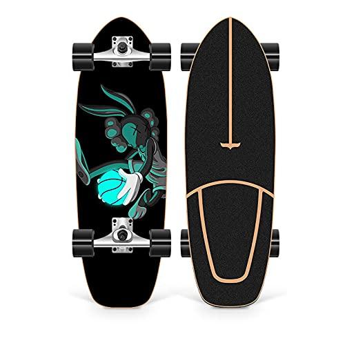 XKAI 75×23cm Cruiser Skateboard Completa Surfskate Pumping Deck Longboard de Madera de Arce para Principiantes, Adolescentes y Adultos Monopatin CX4 Fancy Board, ABEC-11 Bearings