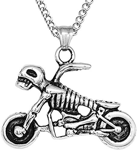 Yiffshunl Collar Collar Moda Hombre Collares Europeo y Americano Punk Rock Cráneo Motocicleta Marea Hombres Colgante Collar en Acero de Titanio