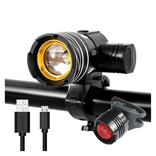 HTSM Fahrradbeleuchtung Frontlichter 5000mAh Fahrrad-Licht 800 Lumen T6 LED Fahrradlampe Zoom USB Aufladbare Aluminiumlegierung Berg-Fahrrad-Licht-Upgrade (Color : 5000mAh, Größe : Set 1)