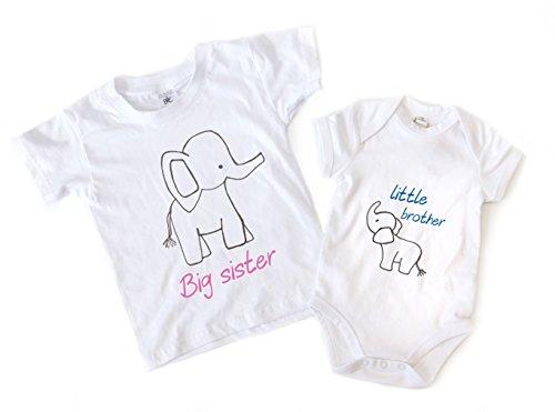 Big Sister Little Brother Juego trajes con elefante blanco roto blanco Talla:3-4ys - 6-12mts