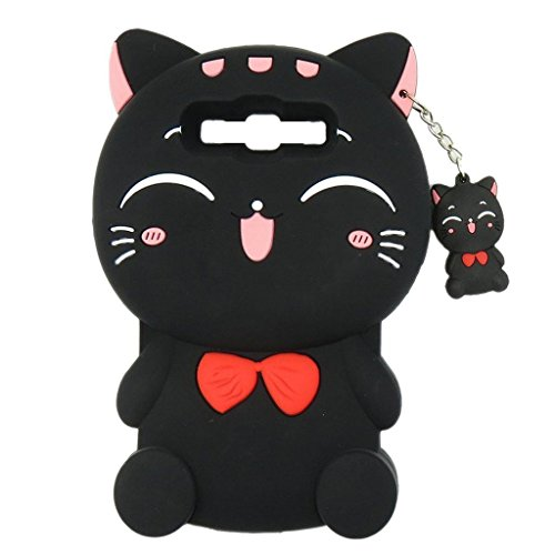 Samsung Galaxy S8 Plus Case, Maoerdo Cute 3D Cartoon Black Plutus Cat Lucky Fortune Cat Kitty with Bow Tie Silicone Rubber Phone Case Cover for Samsung Galaxy S8 Plus (Not Galaxy S8)