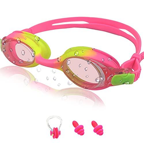 Kinder Unisex Training Freizeit Schwimmbrille X Lite Kids Schwimmbrille Kinder, Schwimmbrille für Kinder, Antibeschlag Lecksicher Wasserdicht Weiches Silikon(Rosa)