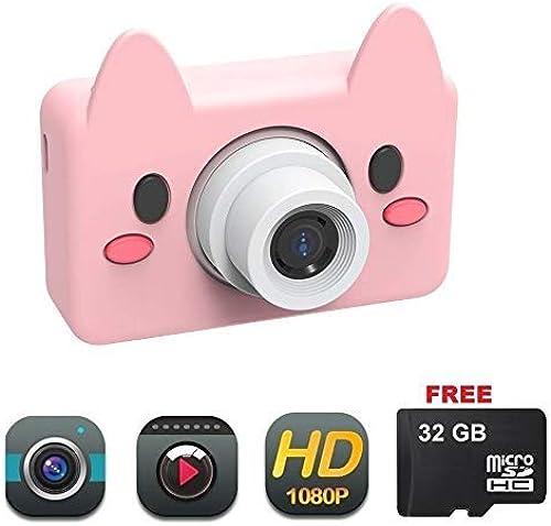 YOMRIC Caméra pour Enfants Caméra pour Enfants Toy Camera HD 8MP Caméscope numérique pour Filles et Garçons Comprend Une voiturete microSD de 32 Go ( Style   Pig Camera )