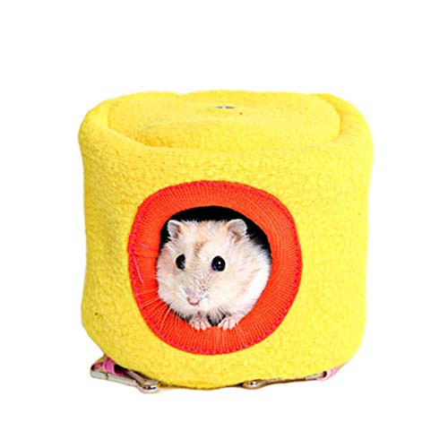 JUNGEN 1PCS Pequeña Mascota Cama de hámster casa muñón Forma de árbol Nido de hámster con muñón de Franela para Mascotas Rata Loro Ardilla Mantener Caliente (1 PCS)