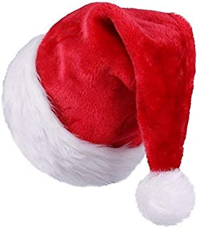 Extra Thicken Red and White Plush Santa Hat-Christmas Classic Hat for Adult Toddler Teenage Children (Red & White)