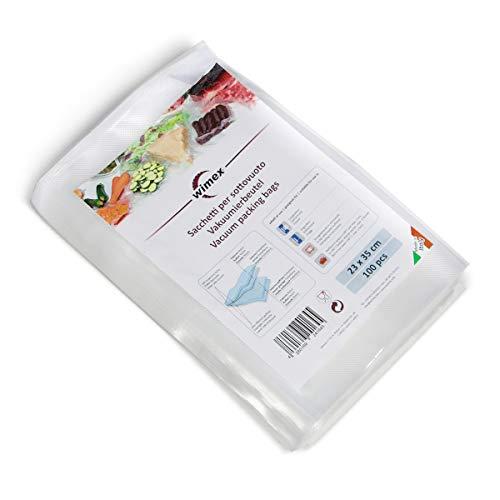 Wimex 100 Vakuumbeutel 23x35cm (35mt) | BPA Free | Sous Vide geeignet | stabile Schweißnaht | Für alle Balken Vakuumierer geeignet | Vakuumrollen | Made in Italy