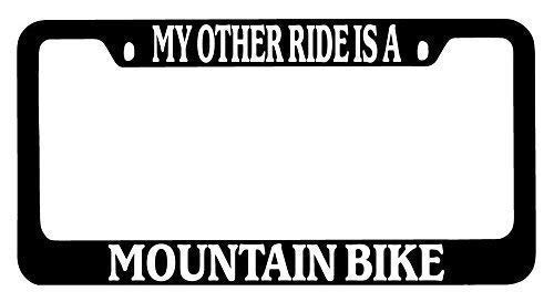 Lplpol My Other Ride is A Mountain Bike Auto License Plate Frame Cover, Aluminum Metal Auto Car Tag Cover Frame with Pre-drilled Holes, 6x12 Inch, Stfa068