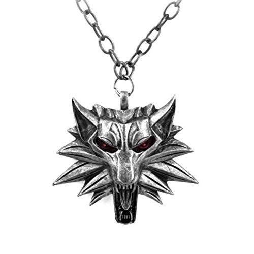 Zidao La Moda Punk Asistente Witcher Lobo Cabeza Colgante, Collar de joyería de los Hombres Rojo...