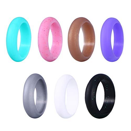 VORCOOL 7 Stück Silikon Ehering für Frauen Herren Silikon Ring Bunte Athletische Ring Sets Mode Bequemen Stil 5